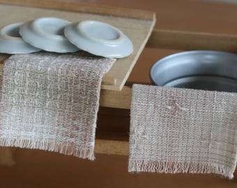 dollhouse tea towels, miniature dishcloths flat, pink and taupe, dollhouse kitchen, modern dollhouse, miniature kitchen