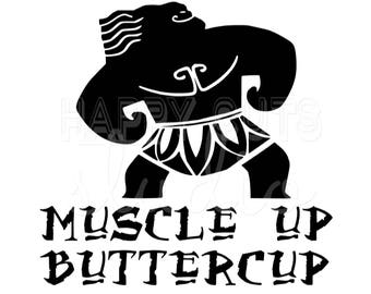 Maui Muscle Up Buttercup Moana Disney World Vacation Family Father Dad Son Aulani Hawaii Tropical  Disney Iron On Decal Vinyl for Shirt 204