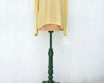 CELINE VINTAGE Blouse 100% SILK - Celine 1980s, Vintage silk - Celine silk shirt, Napoli Yellow, year 1980s - Made in France