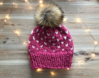 Fair Isle Knit Hat, Pompom Beanie, Faux fur Pom Toque, Fair Isle Beanie, Toque Pompom, Winter Hat, Fair Isle With Faux Fur Pompom