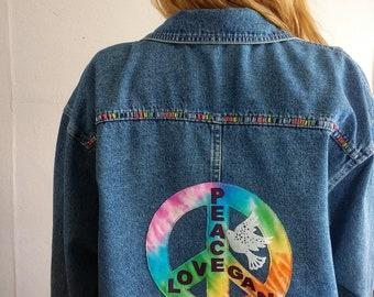 Oversize Denim Shirt with rainbow tie dye Peace, Love, Vegan Design.