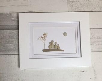 Pebble Art Family of Four ~ unique anniversary gift, retirement gift, housewarming gift, custom family art gift, authentic art, original art
