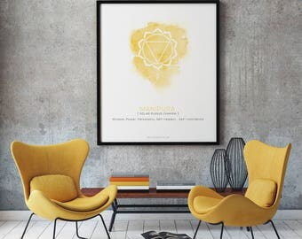 MANIPURA - Solar Plexus Chakra Poster. Spiritual gift, yellow watercolor print, yoga studio decor, zen art, yoga printable, digital download