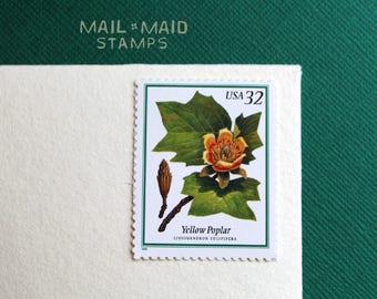 Flowering Trees - Yellow Poplar     Set of 5 unused vintage postage stamps