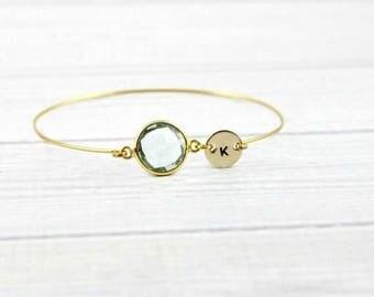 Initial Bracelet, Custom Birthstone Bracelet, Personalized Bracelet, Aquamarine Bracelet, Dainty Minimalist Bracelet, Initial Jewelry,Bangle