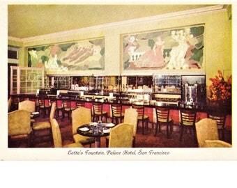50s Palace Hotel San Francisco Real Photo Postcard Lotta's Soda Fountain Mid Century California Hotel Travel Souvenir Posted 1955 Postmark