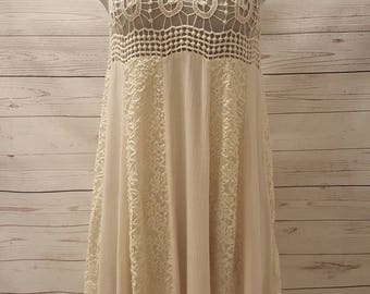 Cream Lace Dress with Crochet Top