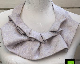 Silk Jabot - White / Pale Lilac - Necklace / Scarf / Tie
