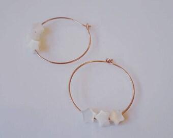 Starry Pearl hoop earrings
