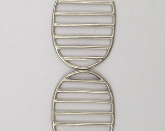 Lines and Shapes Single Oval, Sterling Silver