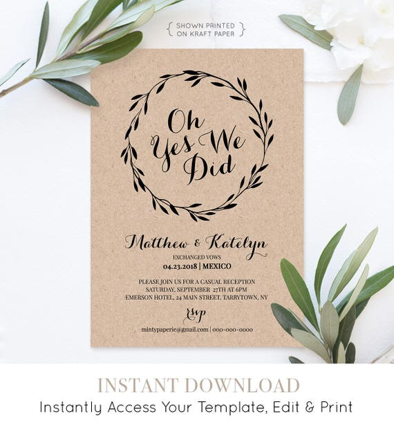 Elopement Announcement, Printable Elopement Invitation Template, Oh Yes We Did, We Eloped, Fully Editable, Instant Download, DIY #NC-105EL