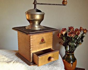 Vintage coffee bean grinder Alexanderwerk coffee mill German wooden espresso Antique coffee maker Retro design Vintage decor Rustic kitchen