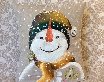 Snowman Pillow/Winter Decorations/Christmas/Home Décor/Indoor/Super Cute/Fun/Hand-painted/rustic/Indoor/Pillow Cover/Snow/Holiday Pillows
