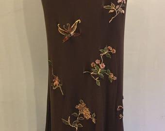 Vivienne Tam Brown Embroidered Flower Skirt Size 1