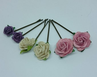 6 Flower Hair Pins