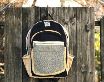 Black Pure Hemp Classic backpack, Laptop Compartment