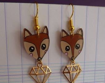 Plated gold Fox kawaii crazy crazy plastic painted by hand and diamond charm