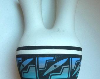 Vintage Navajo Wedding Jar - Mesa Verde Pottery - Native American Signed Handcraft - V. Silas Navajo Signature - Southwestern Décor