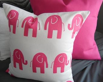 Pink Elephant.Nursery Decor.toss pillow.throw Pillow.Slipcovers.ELEPHANTS.Pillow Covers.Bedroom Decor.Spring Decor