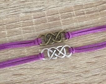 29 Cord Colors | Double Infinity Bracelet, Friendship Gift, Charm Cord Bracelet, Best Friend Jewelry, BFF, Infinite Love, Antique Silver