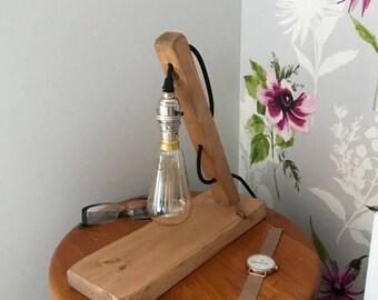 Bedside Table Light, Scandi Style Wooden Table Lamp, Desk Lamp, Bedroom Lighting, Study Lamp, Office Lamp, Home Lighting, Edison Bulb