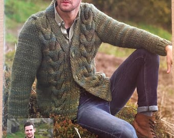 Mens Cable Cardigan Knitting Pattern, Stylecraft Knitting Pattern, Mens Collared Cardigan, Mens V Neck Cardigan, Stylecraft No. 8668