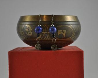 Lapis Lazuli earrings, Bronze earrings, Asian earrings, Dangle earrings
