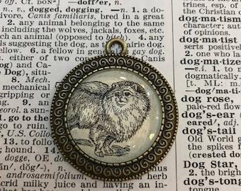 Handmade Vintage Dictionary Dog Necklace - Pomeranian