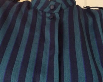 Striped vintage everyday dress in blue and green/Shoulder straps and pockets