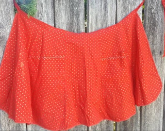 Red half apron with gold polka dots from the 50's/vintage apron/vintage half apron/half apron/polka dot apron/polka dot half apron