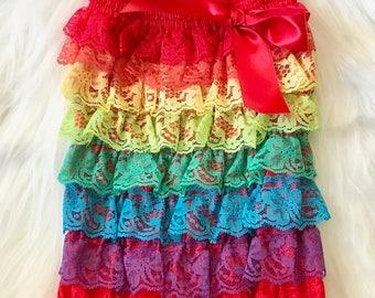 Rainbow Outfit, Rainbow Romper, Petti Romper, Lace Romper, Rainbow Baby, Rainbow Birthday, Rainbow Cake Smash, Cake Smash Outfit, Rainbow