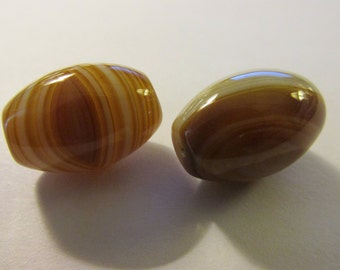 Honey-Colored Natural Banded Agate Column-Focal Beads, 18mm,Set of 2