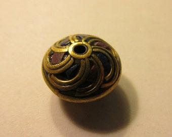 Handmade Tibetan-Nepalese Purple Lapis Saucer Brass Bead, 15mm