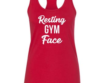Resting Gym Face Tank Top, Women's Workout, Racerback
