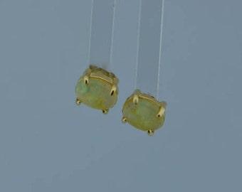14K Yellow Gold Oval Opal Post Earrings