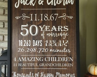 Custom Anniversary Wood Sign - Personalized Sign - Home Decor - Farmhouse - Rustic Decor