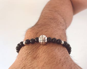 Mens Basketball Bracelet, Mens Black Bracelet , Basketball Jewelry, Gift for Him, Made in Greece by Christina Christi Jewels.