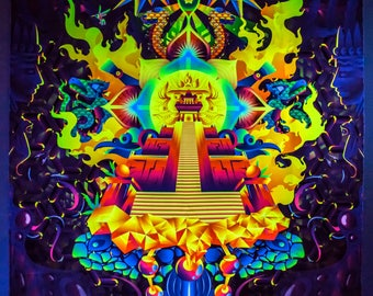 "Psy Вackdrop ""Mindcrash"" UV blacklight active fluorescent psychedelic tapestry wall hanging decoration goa party visual art digital design"