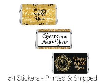 2018 New Year's Eve Stickers - Black and Gold New Year Party Favor Candy Stickers - NYE Party Favors - Mini Candy Bar Wrappers - 54 Count