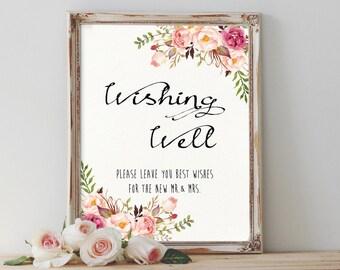 Wishing Well Wedding Sign Printable Wishing Well Sign Floral Wedding Sign Printable Wedding Signage Wedding Decor Signs Instant Download
