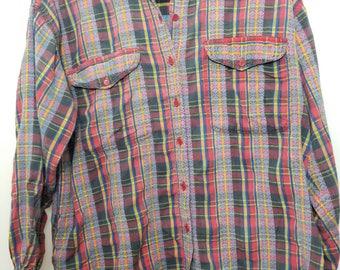 Vintage Plaid Shirt // Vintage Plaid Button Down // 90's Plaid Shirt // Plaid Button Down