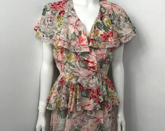 Vtg 70s floral rose ruffle semi sheer dress leslie fay
