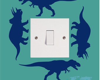 T REX TRICERATOP Dinosaur Boys Girls Childrens Bedroom Playroom Vinyl Wall Art Light Switch Sticker Surround Decal Transfer *20 colours*