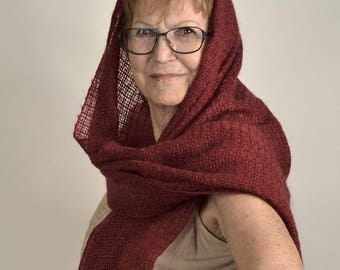Handwoven red shawl. Summer red shawl. Elegant wrap, bridal shawl. Handwoven red pashmina kidmohair. Silky handwoven shawl.