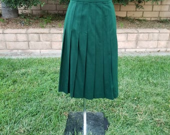 Vintage Skirt, Cheerleader, Pleated Skirt, High Waisted, Fall Fashion, Holiday Wear, School Girl, 100% Wool, Hunter Green, Size 16 Plus Size