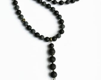 Black gemstone necklace, Women men necklace Rosary lava matte stone dragon pendant necklace