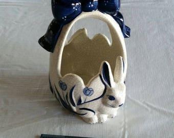 """vintage dedham pottery rabbit """" egg basket """" by potting shed  bunny ceramic porcelain blue white crackle signed art easter figurine #A"""