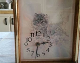 vintage elgin wooden wall hanging clock kitty cat picture photo 1970 's - pink flowers & trim matte - feline vet clinic shadow box art