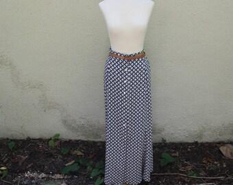 90's Black and White Marimekko Style Maxi Skirt-M