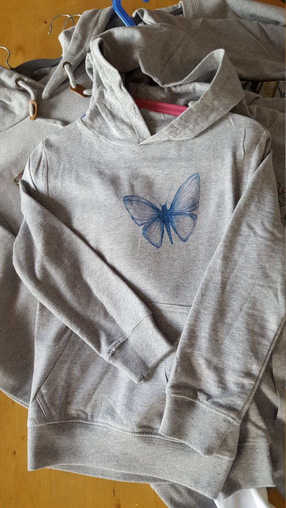 "Grey girl Hoodie pattern ""Butterfly"""